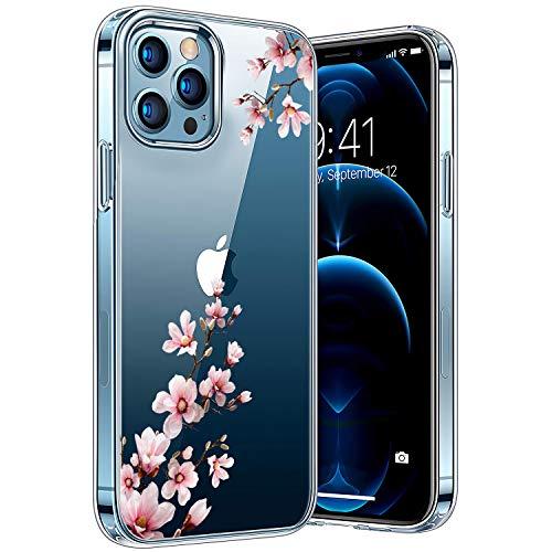 Handyhülle Kompatibel mit iPhone 12/12 Pro, Ultra Dünn Durchsichtige TPU-Silikon und Kratzern Hülle für iPhone 12/12 Pro, Cover Transparent mit Motiv Blumen Schützt vor Stößen Case (12pro-02)