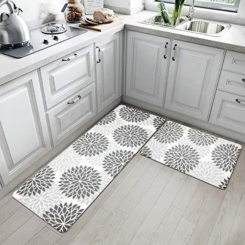 HEBE Anti Fatigue Kitchen Rug Sets 2 Piece Non Skid Kitchen Floor Mats 17