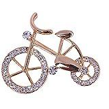 Elegancia Gold Rhinestone Forma De Bicicleta Hombres Mujeres Unisex Broche Pins Jewelry Regalo (Color : Rose)