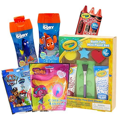 Crayola Bath Paint Kids Bath Toys Bundle ~ 11 Pcs Crayola Bath Toy Mini Paint Set Plus Trolls, Paw Patrol, and Finding Nemo Bath Accessories and Bonus Crayola Reward Stickers!