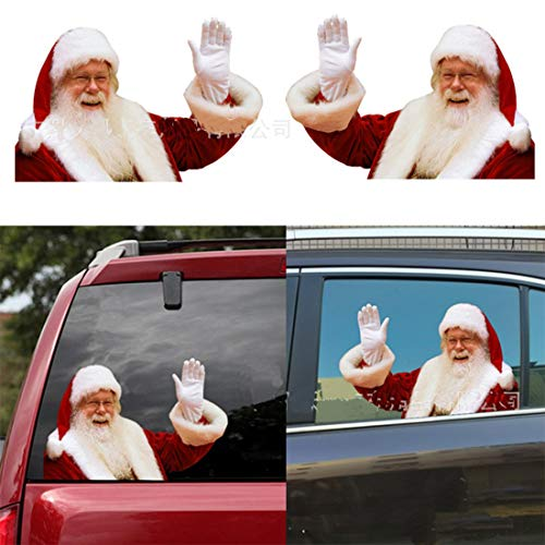 3D Santa Claus Car Rear Window Sticker Car Sticker Window Sticker Funny Car Stickers Window Decals for Vehicles(2PCS,right and left)