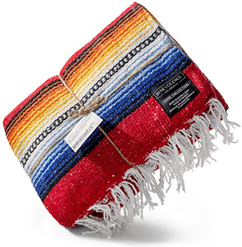 Premium Mexican Blanket | Authentic Hand Woven Falsa Blanket & Yoga Blanket, Made by Traditional Mexican Artisans | Perfect Camping Blanket, Beach Blanket, Picnic Blanket, & Car Blanket (Rojo)