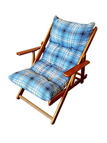 Totò Piccinni Poltrona Sedia Sdraio Harmony Relax in Legno Pieghevole 3 Posizioni (Blu)