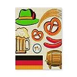 Pintura de diamante 5D DIY,Oktoberfest símbolo salchicha de trigo cerveza y pretzels colorido arreglo bávaro,Arte de imagen de bordado de diamantes de cristal de punto de cruz,20x16 inch