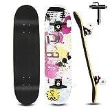 Skateboard pour Débutants, 80x20cm Skateboard Complet en Bois pour Enfants, Adolescents Adultes, 7 Couches de Bois D'érable Double Pont, Kick Cruiser Concave Trick Skateboard avec Outil en T (Blanc)