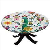 Mantel redondo con diseño de búho, búhos en el árbol con ojos locos mosaicos mágicos en el aire, máscara de sabio, borde elástico, resistente al agua y lavable para mesas de hasta 132 cm de diámetro