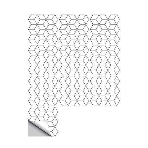 Pegatinas de Pared Figura geométrica blanca Pegatinas de azulejos de cocina Backsplash Pegatina de pared Self Stick Decoración de baño BRICOLAJE Fondo de pantalla for la decoración del hogar Adhesivos