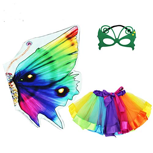 Rainbow Kids Butterfly Wings Costume for Girls, Butterfly Dress Up Wings with Mask Tutu Masquerade Role Play Party (Rainbow)