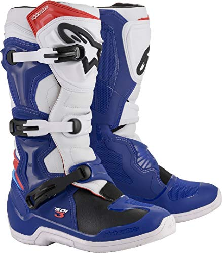 Alpinestars Unisex-Adult TECH 3 Boots-Blue/White/Red (Size 10) (Multi, One