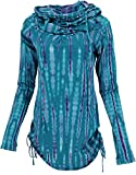 Guru-Shop Camiseta de manga larga, minivestido con capucha ancha, para mujer, algodón, jersey, manga larga y sudaderas alternativas Azul Turquesa Táctica Small/Medium