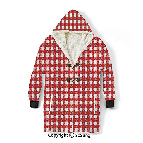 Modern Blanket Sweatshirt,Vintage Style Checkered Pattern Christmas Design Kitchenware Picnic Cafe Cloth Image Art Decorative Wearable Sherpa Hoodie,Warm,Soft,Cozy,XXL,for Adults Men Women Teens Frie