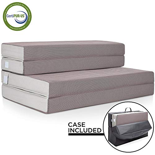 Best Choice Products 4in Thick Folding Portable Queen Mattress Topper w/ Bonus Carry Case, High-Density Foam, Washable Cover