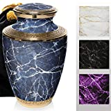 Marble Elegance Cremation Urns for Human Ashes Adult for Funeral, Burial, Columbarium or Home, Cremation Urns for Human Ashes Adult 200 Cubic Inches, Urns for Ashes (Blue / Gold, Large / Adult)