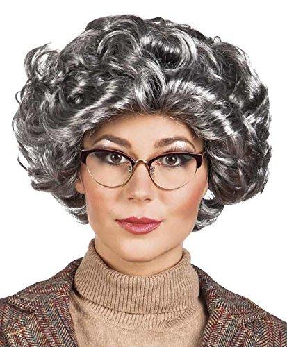 Grandma Granny Wig Curly Wig Fancy Dress Wig Grey