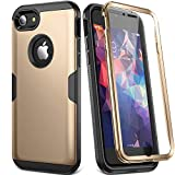 YOUMAKER Designed for iPhone 8 Case & iPhone 7 Case, Full Body Rugged with Built-in Screen Protector Heavy Duty Protection Slim Fit Shockproof Cover for Apple iPhone 8 (2017) 4.7 Inch - Gold