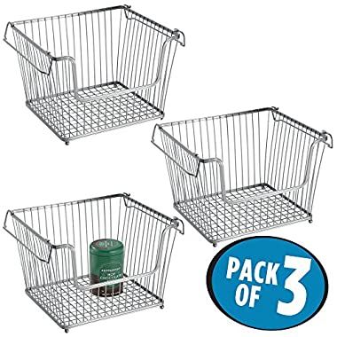 mDesign Household Stackable Wire Storage Organizer Bin Basket with Built-In Handles, Open Front for Kitchen Cabinets, Pantry, Closets, Bedrooms, Bathrooms - Large, Pack of 3, Steel in Silver Finish