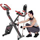 EVOLAND Exercise Bike, with Pulse Sensors and 2 Dumbbells, Foldable Indoor <span class='highlight'>Trainer</span> for Home Use