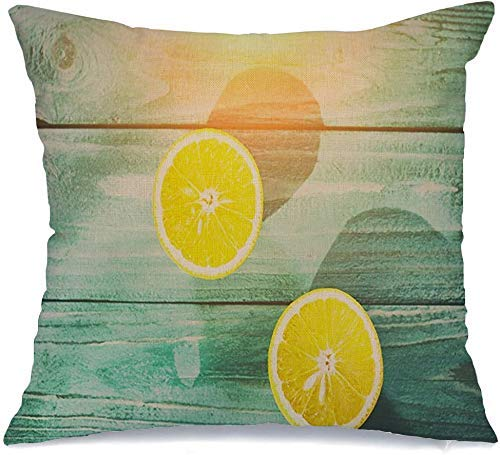 Funda de almohada Natural Nature Limón Frutas Dulces Texturas Blancas Cortadas Vitamina Alimentos Bebidas Color Azul Lima Rebanada Madera Lanzamiento Cómodo Cojín para silla de coche Sofá Cama 45x45 c