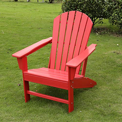 HM HOME HDPE Resin Wood Adirondack Chair, Weather Resistant/for Patio Deck Garden/Backyard Lawn Furniture Easy Maintenance/Classic Adirondack Chair Design (Red)