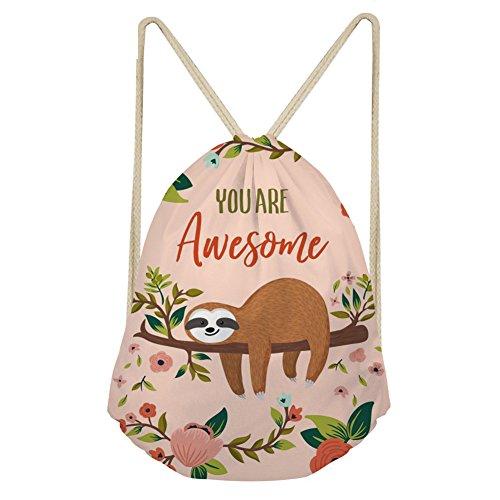 WHEREISART Kids Drawstring Bag You Are Awesome Cartoon Sloth Design Cinch Training Gymsack Backpack