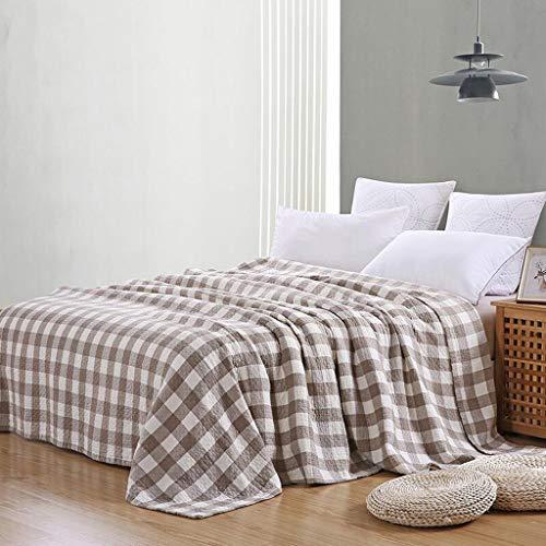 AI LI WEI Klimadecke, mat Brown White Lattice Cotton Handtuch Quilt Handtuch Single Double Verdickung Kinderdecken Bettwäsche