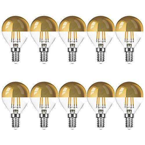 10 x LED Filament Tropfen 4W = 40W E14 Kopfspiegel gold Kugel extra warmweiß 2200K KVG