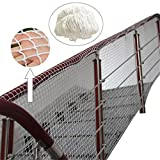 WGE Nylon-Absturzsicherungsnetze Treppe Balkon Sicherheitszaun Gartenzaunnetz, Gebäudesicherheitsnetz1,97 '' Gitter,1X18M/3X59FT