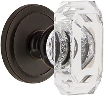 Grandeur 828185 Carre Plate Double Dummy with Baguette Crystal Knob in Polished Brass