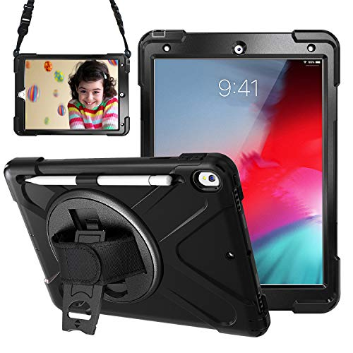Gerutek iPad AIR 3 Case 2019, iPad Pro 10.5 Case 2017, Heavy Duty Shockproof Rugged Case with Pencil Holder, Rotating Stand and Hand/Shoulder Strap, Tough Protective Case for iPad AIR 3 /Pro 10.5