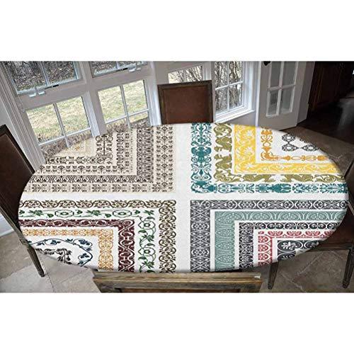 LCGGDB Mantel ajustable de poliéster elástico antiguo, diseño de mosaico, rectangular, ovalado, para mesas de hasta 122 cm de ancho x 172 cm de largo