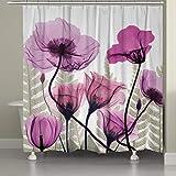 Duschvorhang mit Metallhaken, 182,9 x 182,9 cm dick, strapazierfähiger Stoff, Badezimmer-Duschvorhang-Set mit Haken, kein chemischer Geruch, rostwiderstandsfähige Ösen, moderne Heimdekorationen, rosa Lotus