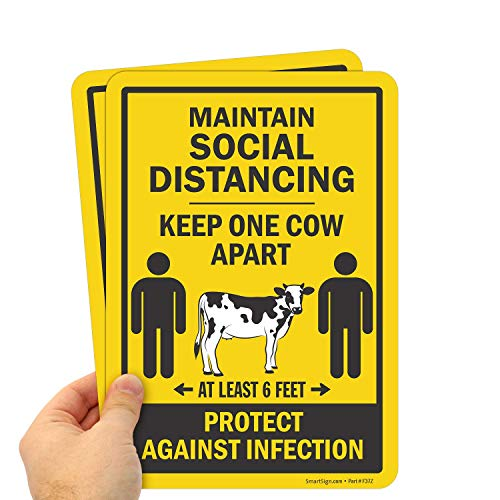 """SmartSign """"Maintain Social Distancing - Keep One Cow Apart, at Least 6 Feet. Protect Against Infection"""" Sign 
