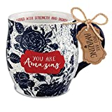 Lighthouse Christian Products You Are Amazing Midnight Blue Floral 13 Ounce Ceramic Mug