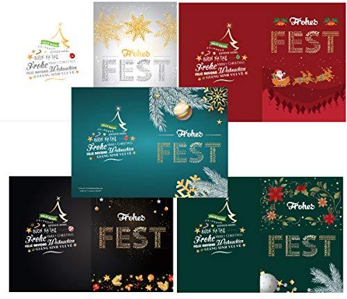 Set 5 Stück wunderschöne Weihnachtskarten inkl. Umschläge, Größe A5, weihnachtliche Motive, Frohe Weihnachten in verschiedenen Sprachen, ideal zum Verschenken