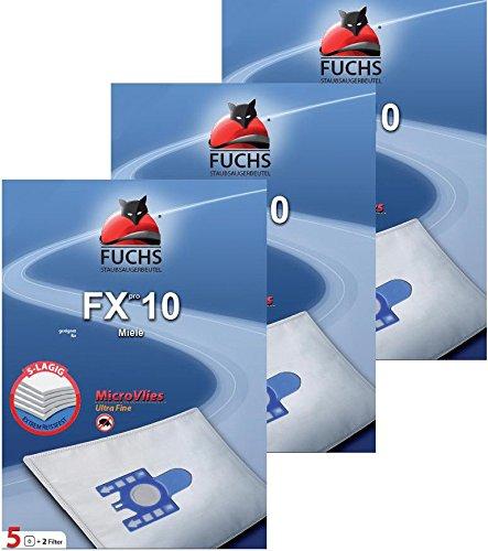 FUCHS Staubsaugerbeutel Fxpro 10 3 Pakete 10: 15 Staubsaugerbeutel, 3 Luftfilter, 3 Motorfilter für Miele Cat und Dog, S 8 G N H S 230, S5 400i - 499i S 5 S 5000-5999 Serie EcoComfort EcoLIne Premium