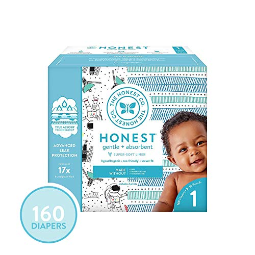 The Honest Company Super Club Box Diapers - Size 1 - Space Travel & Teal Tribal Print | TrueAbsorb Technology | Plant-Derived Materials | Hypoallergenic | 160 Count
