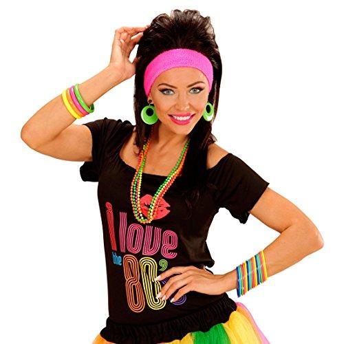 NET TOYS 80er Jahre Armbänder 18er Set Armreifen Armreif Hippie Multicolour Modeschmuck Armband Disco Mode Schmuck Kostüm Verkleidung Klamotten Kleidung Accessoires Karneval