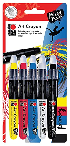 Marabu Art Crayons - Primary Set of 5 Soft Pastel Crayons for Fine Art and Mixed Media