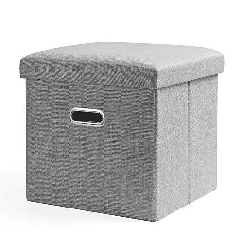 MEI XU Storage Stool, Cotton Linen Storage Stool High Rebound Sponge Portable Multi-Function Household Sofa Footstool Storage Storage Stool, 4 Colors, 2 Sizes @ (Color : Gray, Size : 38x38x38cm)