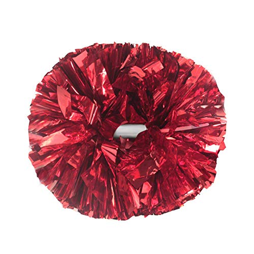 Hooshing 2 Pack Cheerleading Pom Poms with Baton Handle for Team Team Spirit Sports Dance Cheering Red