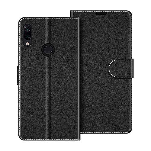 COODIO Handyhülle für Xiaomi Redmi Note 7 Handy Hülle, Xiaomi Redmi Note 7 Hülle Leder Handytasche für Xiaomi Redmi Note 7 Klapphülle Tasche, Schwarz