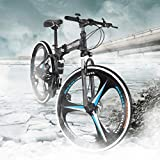 TOUNTLETS Mountain Bike Folding Bikes with High Carbon Steel Frame,Featuring 3 Spoke Wheels and...