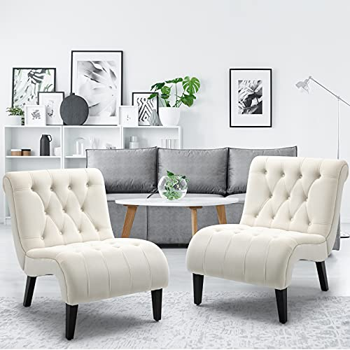 AVAWING Armless Accent Chairs, 2 PCS Fabric Living Room Chairs with Wood Legs, Upholstered Lounge Chair for Bedroom, Cream White