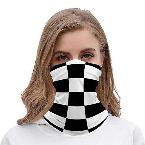 Unisex Seamless Face Mask Bandanas Neck Gaiter Tube Headwear Bandana, Black And White Checkered Checkerboard Pattern Face Mask Bandanas for Dust, Moto