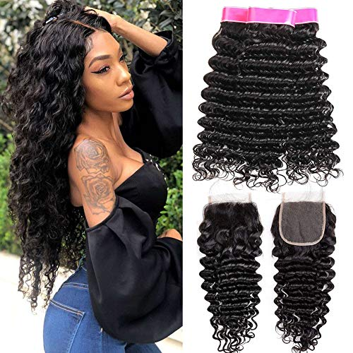 EMOL Hair 9A Brasilianisches Menschliches Haar Virgin Human Hair Curly Weave Brazilian Deep Wave Bundles with Closure Curly Brazilian Hair 3 Bundles with Closure 22 24 26+20 Zoll