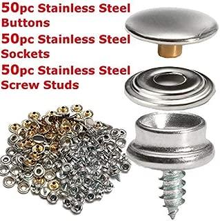 Juego de 50 botones de presión de acero inoxidable de 10 mm; para tela y lona marina; botón, cavidad y broche con tornillo