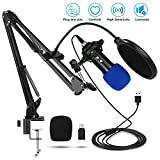 Riiai Condenser USB Microphone for Computer with USB Microphone Kit with Adjustable Scissor Arm Stand for Plug & Play Recording Microphone for PC Gaming Streaming Podcasting YouTube