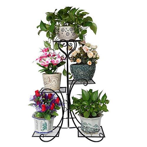 MingXinJia Pflanzenständer Regale Lagerregal Haushalt 4-Lagiger Topfpflanzenständer Metall Gartenterrassenständer Topfpflanzenständer Blumenständerschwarz, Eine Grösse passt allen