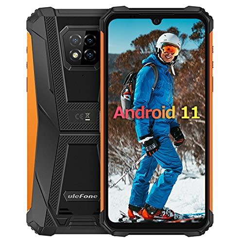 6Go+128Go Android 11 Smartphone Incassable,Octa-Core Ulefone Armor 8 Pro Écran 6,1 Pouces IP68 / IP69K étanche Antichoc, 4G Double SIM OTG/NFC/GPS Telephone Portable Incassable Debloque -Jaune