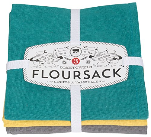 Now Designs Floursack Dishtowel Set of Three, Mallard Green/Curry Yellow/Eiffel Grey, 3 Count